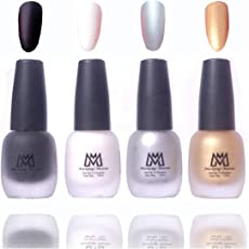 Makeup Mania Premium Nail Polish Velvet Matte Nail Paint Combo (Black, White, Silver, Golden, Pack of 4)