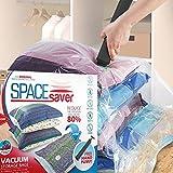 Platzsparende Premium-Vakuumbeutel, Mehrfach-Pack (3x klein, mittel, groß & extragroß), 80% mehr Stauraum als andere Marken. Eine gratis Handpumpe für Reisen - 5