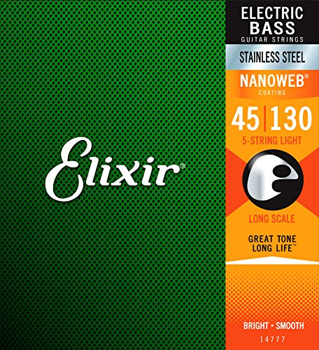 Elixir 14777 Electric Bass Saiten 5 Medium - Light B Stainless Steel Nanoweb - Electric 5-string Bass