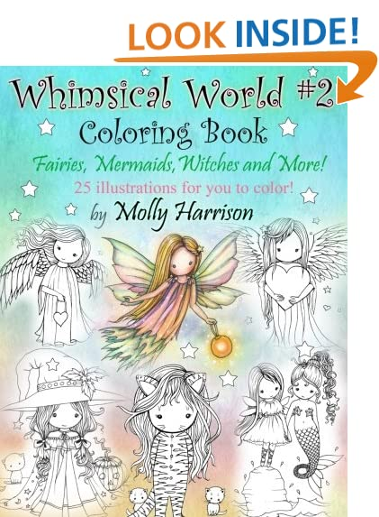 Whimsical World 2 Coloring Book Fairies Mermaids Witches Angels And More