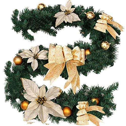 Surfmalleu Guirnaldas de Navidad Artificial Decoración Navideña para Chimeneas Escalera Árbol Jardín...