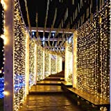 CurioCity LED Light String Curtain 3m x 3m, 300 LEDs, 8 Memory Flashing