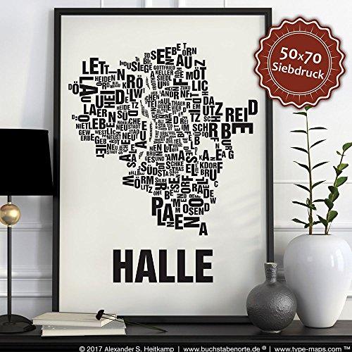 Halle (Saale) Buchstabenort Schwarz auf Naturweiß