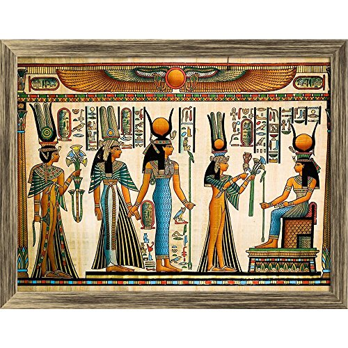 Pitaara Box Egyptian Queen Nefertari Making An Offering to Isis D2 Canvas Painting Antique Golden Frame 23.7 X 18Inch (Queen-size-split-box)