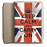 Apple iPad Air 2 Smart Case Hülle Tasche mit Ständer Smart Cover Keep calm and carry on Sprüche England Flagge