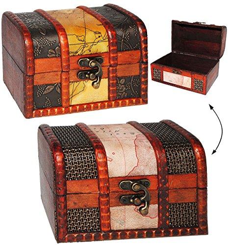 Preisvergleich Produktbild 1 Stück _ mittlere Größe Schatzkiste / Schatztruhe - aus Holz - Kiste & Truhe / Schmuckkasten - für Kinder & Erwachsende - z.B. für Geldgeschenke, Schatzsuche, Spardose, Hochzeit - Landkarte / Welt - Erde - Globus - Reise / Urlaub - Urlaubsreise / Trinkgeld - mittel - stabil - Pirat Geld Piratenschatz - Piraten - Piratenschatztruhe - Truhen - Piratenkiste / Spieltruhe - Holzkiste