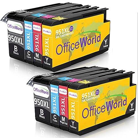 OfficeWorld Remplacer pour 950XL 951XL Cartouches d'encre Grande Capacité Compatible pour Officejet Pro 8600 8610 8620 8630 8640 8100 8660 8625 8615 251dw 276dw (2 Noir, 2 Cyan, 2 Magenta, 2 Jaune)