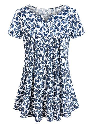 Anna smith abito a tunica con stampa floreale, donna, manica corta, con scollo a v, camicette e pullover t-shirt con camice a pieghe, orlo a pieghe, abiti blu m