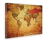 Giallobus - Quadro - Stampa su Tela Canvas - World Map Old - Mappa del Mondo Antica - 100 X 140 Cm
