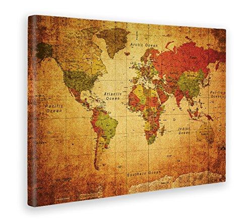 Mapa impreso sobre lienzo