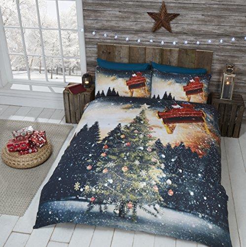 Christmas tree set copripiumino con slitta di babbo natale e 2federe, set biancheria da letto, multicolore, letto king size