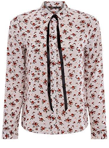 oodji Ultra Damen Druckbluse mit Kontrastschleife Weiß (1245F)