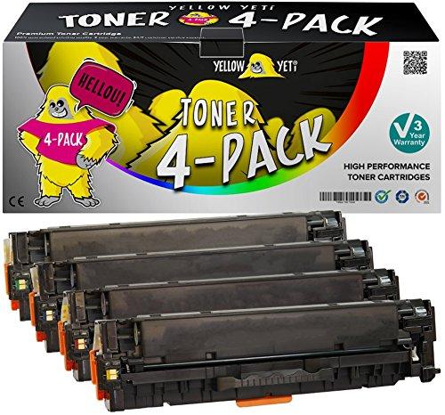 Yellow Yeti 4er Pack 305X 305A Premium Toner kompatibel für HP Laserjet Pro 300 M351a MFP M375nw Pro 400 M451dn M451dw M451nw MFP M475dn M475dw | CE410X 4.000 Seiten CE411A CE412A CE413A 2.600 Seiten