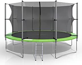 gympatec XXL Trampolin 430 cm Gartentrampolin Komplettset mit Netz innenliegend Leiter Erdanker Spanngurte