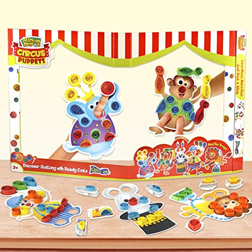 Circus Puppets – Make and play with Hand and Finger Puppets – Ready Paper Coils to decorate the puppets- Fun Craft Kit and Toy for 3 years and above Boys and Girls- Excellent Birthday Activity and Gift