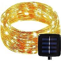 Solare LED Catena luminosa con 8modalità catena luminosa, Moon Pop 150ER impermeabile IP65sottile filo di rame filo Natale illuminazione con pannello solare–luce bianco caldo chiaro 49.2ft/15m [energia classe A +]