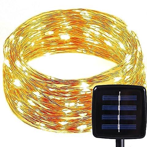 Solar LED Lichterkette mit 8 Modi, MOONPOP 150er Wasserdicht IP65 dünne Kupfer Drahtlichterkette Draht Weihnachtsbeleuchtung mit Solar-Panel - Warm Weiß Hell Licht 49.2 FT/15M [Energieklasse A+]