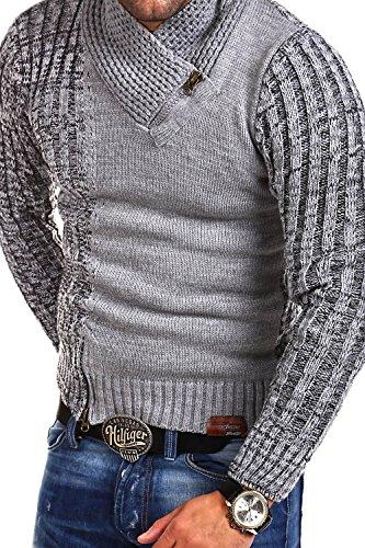 Tazzio Strickpullover mit Zipper Pullover 14-423 Grau