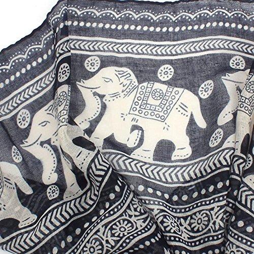 Echarpe Femme, Koly Nouveau Mesdames Cou Stole Elephant Imprimer Longue éCharpe ChâLe Wrap Pashmina Noir
