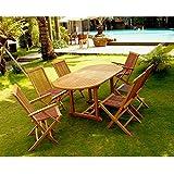 Le Leti Mix: Salon de jardin teck 6/8 pers. 4 chaises 2 fauteuils + table ovale