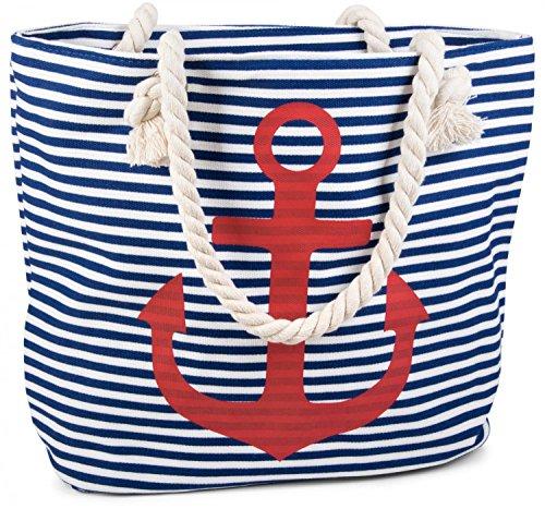 styleBREAKER borsone da spiaggia a righe con ancora, borsa scolastica, borsa per shopping, donna 02012038, colore:Nero-Bianco / Oro Blu-Bianco / Rosso