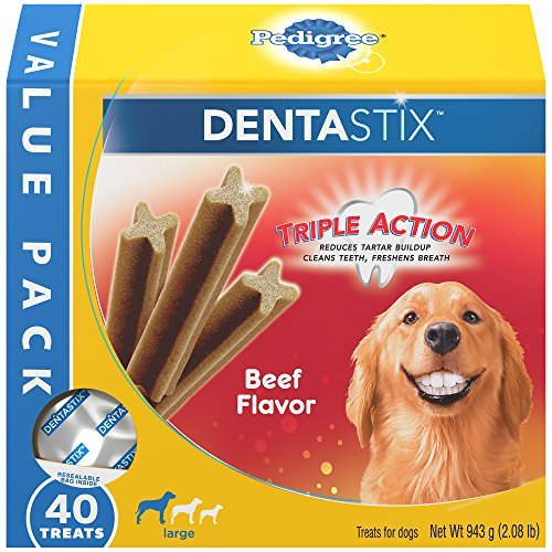 Beef, 40 Treats, Standard Packaging : PEDIGREE Dentastix Large Dog Treats