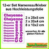 'Nachname-Aufkleber' Set 12 Stück Ihr Name als hochwertiger Aufkleber 12-Stk 25 - 10 cm lang für Schule Hobby Beruf Briefkasten