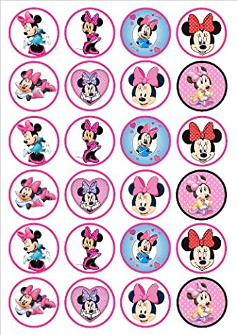 Minnie Mouse Edible PREMIUM THICKNESS SWEETENED VANILLA,Wafer Rice Paper Cupcake Toppers/Decorations