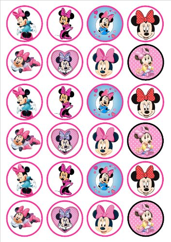 Image of Minnie Mouse Edible PREMIUM THICKNESS SWEETENED VANILLA,Wafer Rice Paper Cupcake Toppers/Decorations