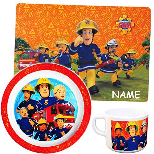 alles-meine.de GmbH 3 TLG. Set - Unterlage + Tasse + großer Teller - Kinderteller -  Feuerwehrmann Sam Jones  - inkl. Name - Ø 21,5 cm - aus Melamin / Kunststoff - BPA frei - t..