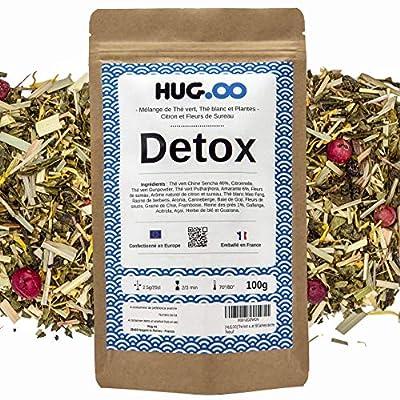 HUGOO - DETOX Thé Vert | Infusion Bien être | Citron-Fleur de Sureau | Draineur Rapide et Efficace | Perte de Poids | Minceur ventre plat | Coupe faim | Guarana | Sachet Vrac 100g + Ebook + Filtres