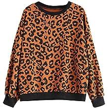 ... stradivarius ofertas ... ❤ Sudadera Mujer Leopardo, Mujeres Leopardo Estampado de Leopardo O Cuello Camiseta Ocasional Top