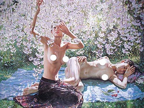 JH Lacrocon Leinwand Kunstdruck Nackte Frau Bild Deko 55X40cm Poster Akt Unter Kirschblüten Malerei Von Guan Zeju Foto Vintage