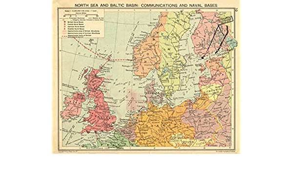 North Sea Europe Map.Second World War North Sea Baltic Minefields Naval Bases