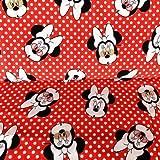 Jersey-Stoff – Minnie Maus rot gepunktet – HEM73 – Jersey Stoff – 50 cm x 150 cm – 95% Premium Baumwolle 5% Spandex Stretch Jersey Stoff