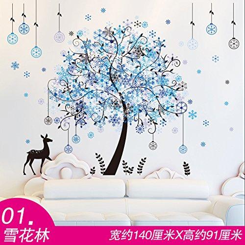 YBFQ Divano Pareti Decorate Pareti Background Autoadesiva Romantico Blu Il Simbolo Del Fiocco Di Neve Lam Adesivi Murali 60*90cm
