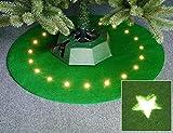 Weihnachtsbaum Teppich mit Stern LED Beleuchtung Rund Baumteppich Christbaumdecke, Farbe:Grün
