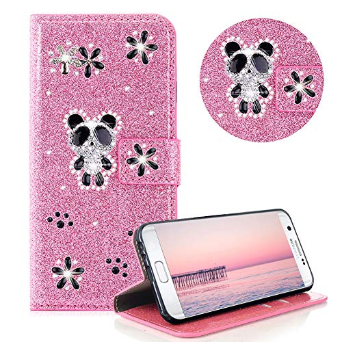 Glitzer Strass Brieftasche für Galaxy S7,Rosa Leder Handyhülle für Galaxy S7,Moiky Luxus 3D Magnetisch Kristall Niedlich Panda Blumen Diamant Hülle mit Kartenfächer Ständer