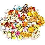 Sea Team, 6 carini ciondoli assortiti per portachiavi e decorazioni artigianali in morbida spugna a forma di cibo mini, pane, gelato, ciambella crema, crostata, panda