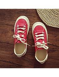 Las Mujeres Un Retro Round Toe Encajes De Fondo Plano De Los Zapatos De Cuero Casual,Mary Jane Alojamiento,Rojo ,38
