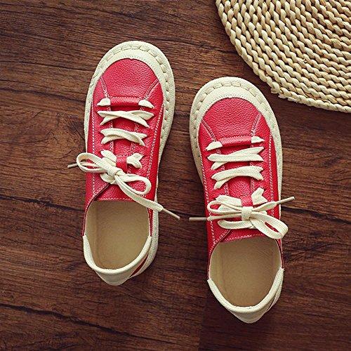 Heart&M Damen Retro-runde Zehe-flache Unterseite Lace-Up Casual Leder Mary Jane Schuhe Flats Red
