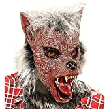 WIDMANN vd-wdm00385Máscara Medio Viso con pelo hombre lobo, rojo, talla única