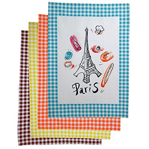 Provence Imports Geschirrtücher Paris Bistro, Baumwolle, 4 Stück -