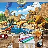 Fondo De Pantalla Mural Personalizado 3D Lago Frente Dinosaurio Tiranosaurio Rex Dormitorio Niños Fotografía Fondo 3D Niños Fondo De Pantalla-(W)140X(H)100Cm