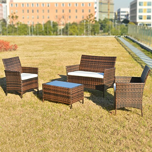 Merax Polyrattan Loungeset Gartenset Gartenmöbel Sitzgruppe Gartentisch  4 Teiliges Lounge Set Balkon In Rattanoptik (