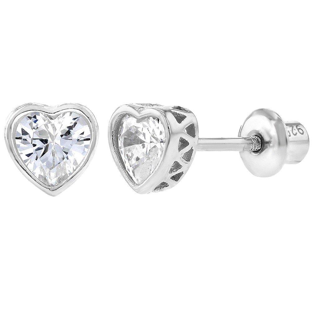 925 Sterling Silver Screw Back Heart Earrings for Kids