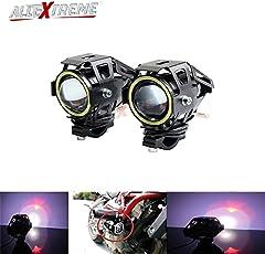 AllExtreme U7 (Mini) LED Fog Light Bike Driving DRL Fog Light Spotlight, High/Low Beam, Flashing-With White Angel Eyes Light Ring (Pack Of 2)