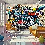 murando – Papier peint intissé 250x175 cm – Trompe l oeil – Tableaux muraux déco XXL – Graffiti coloré eau i-A-0108-a-b