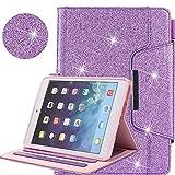 Neu iPad 9.7 2018 2017 / iPad Air 2 / iPad Air / iPad Pro 9.7 Hülle, Business Glitzer Premium Leder Ständer Clever Schutzhülle [Auto Schlaf/Wach] für Apple iPad 9.7 2018 2017/Air 2/Air/Pro 9.7 2016,Lila
