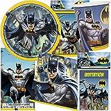 101-teiliges PARTY SET * BATMAN * für Kindergeburtstag mit 8 Kinder: Teller, Becher, Servietten, Einladungen, Tischdecke, Partytüten, Deko   DC Comic Superheld Fledermaus Gotham City Luftballons